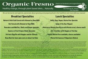 Organic Fresno menu