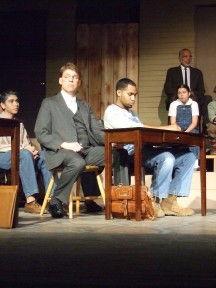 From Left to right: Alex Quezada (Nathan Radley), Jim Bonnar (Atticus Finch), Rod Johnson (Tom Robinson), Hannah Suggs (Scout), Milton Morrison (Reverend Sykes)