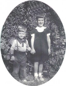 1951, first day of kindergarten with my brother Bill