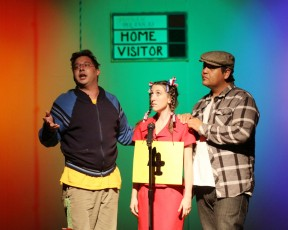 Henry (As Logainne&#039;s gay dad), Natalie (Logainne) and Cristian Duran (As Logainne&#039;s other gay dad)