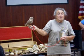 Fresno Chaffee Zoo Docent Burleigh Lockwood shows off a Burrowing Owl while presenting owl facts