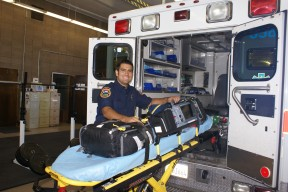 Sanger firefighter/paramedic Joseph Montejano gets the ambulance equipment ready to go out on a call.