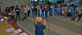 Sing It teacher, Heather Layne, with her students, during a Tuesday morning singing session