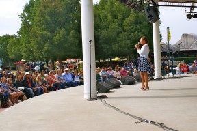 "Zaylynn Mangrum performs ""Hurt,"" on the Pavilion Stage, to a large audience, at the Fresno Fair"