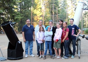 Amateur astronomer Fabian Barajas with Fairmont 4-H campers at a Fresno County 4-H camp, at Camp Keola at Huntington Lake, this past July. Back row, left to right - Fabian Barajas, Lauren Raley, Rylee Rocca, Elle Cumming and Katie Taylor. Front row, from left to right - Maddy Cumming, Madison Moore, Brooklyn Reyes and Makenzie Flach.