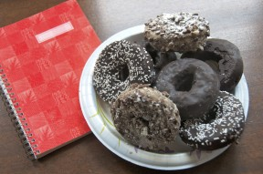 doughnuts and notebook