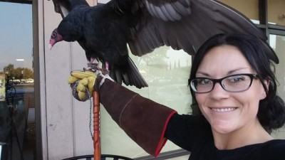 Fresno Wildlife Service with rescued bird